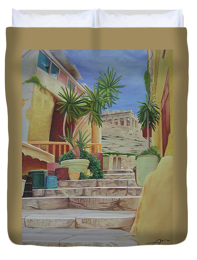 Greece Duvet Cover featuring the painting Greece by Joshua Morton