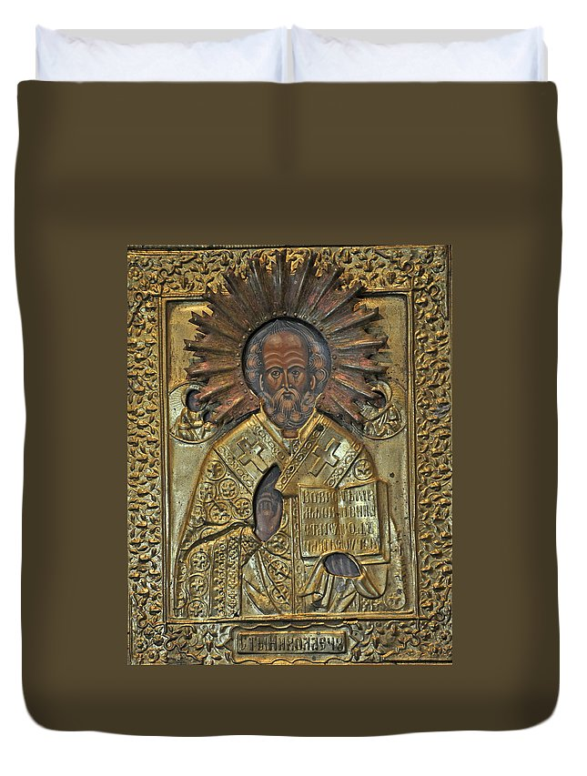 Icon Duvet Cover featuring the photograph Greek Icon Of Saint Nicolas by Jay Milo