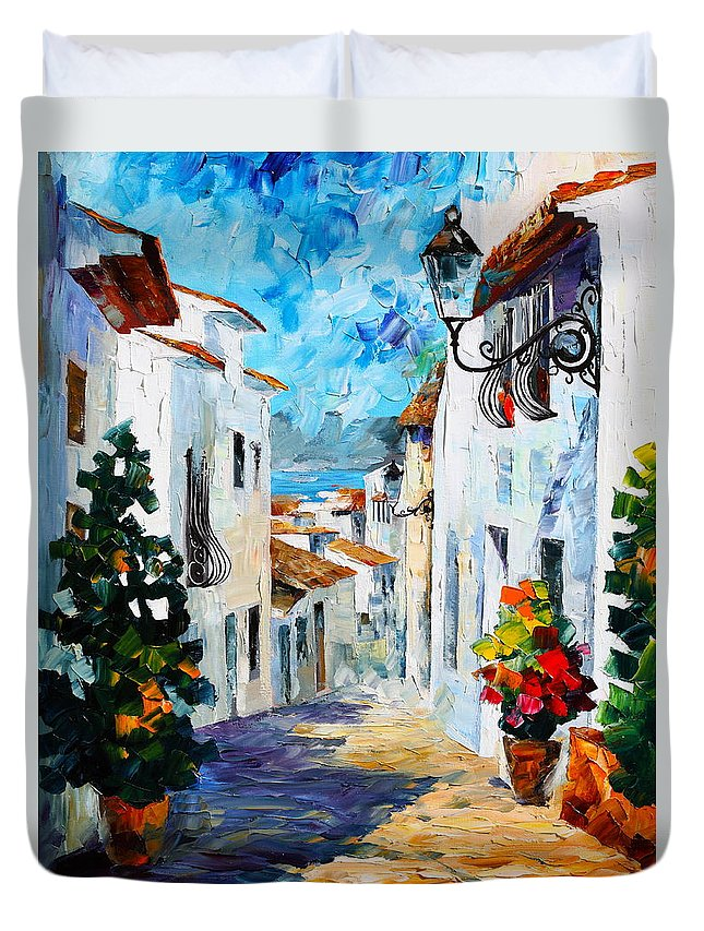 Street Duvet Cover featuring the painting Greek Mood new by Leonid Afremov