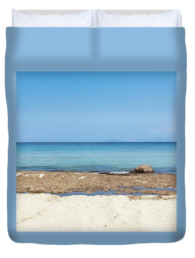Greek Culture Duvet Cover featuring the photograph Greek Sea by Deimagine
