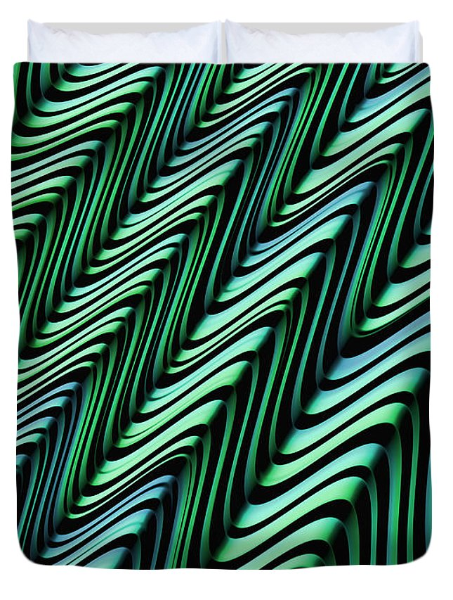 Folded Abstract Duvet Cover featuring the digital art Green And Blue Folds by John Edwards