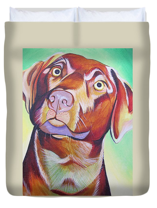 Dog Portraits Duvet Cover featuring the painting Green And Brown Dog by Joshua Morton