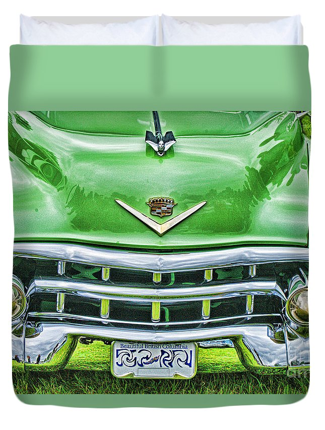 Cars Duvet Cover featuring the photograph Green And Chrome-hdr by Randy Harris