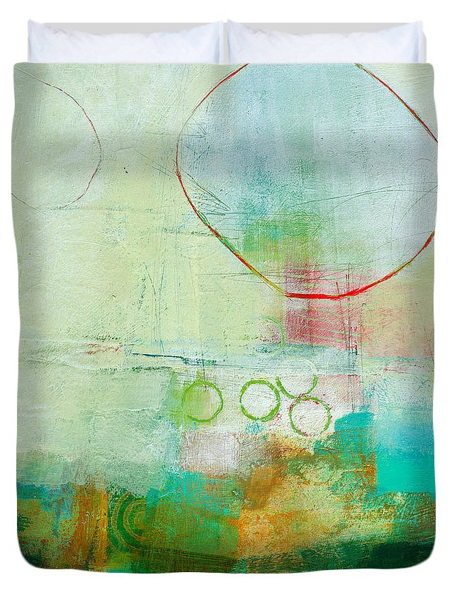 Acrylic Duvet Cover featuring the painting Green and Red 6 by Jane Davies