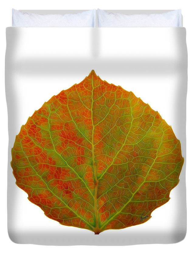 Aspen Leaf Duvet Cover featuring the digital art Green And Red Aspen Leaf 5 by Agustin Goba