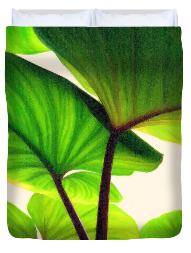 Green Canopy Pastel Duvet Cover featuring the painting Green Canopy Pastel by MotionAge Designs