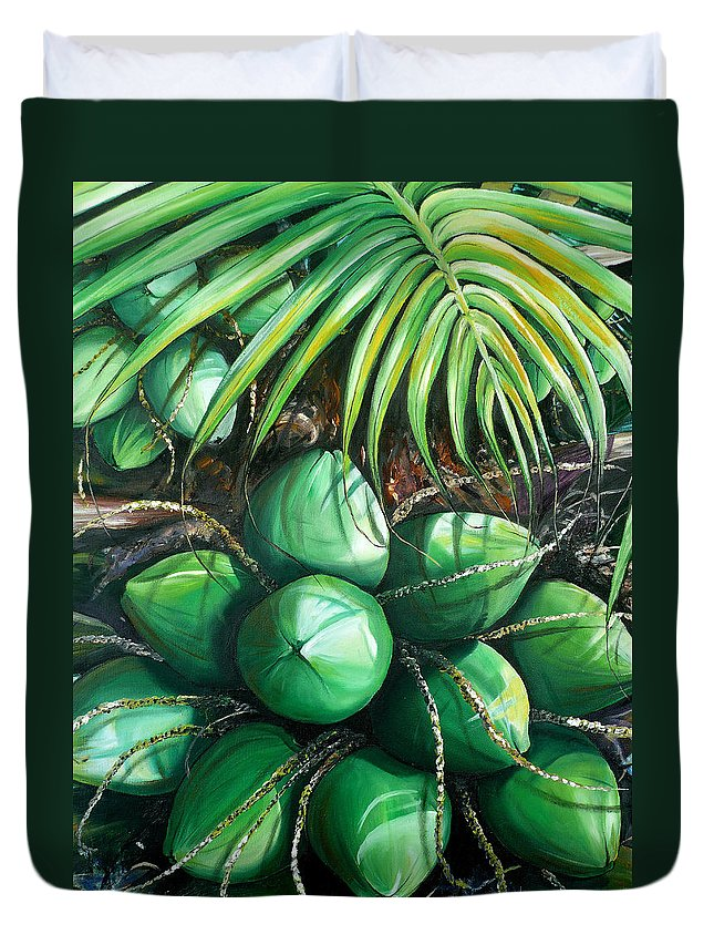 Tropical Painting Caribbean Painting Green Painting Palm Tree Painting Greeting Card Painting Botanical Painting Tree Painting Duvet Cover featuring the painting Green Coconuts 3 Sold by Karin Dawn Kelshall- Best