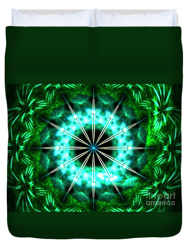 Apophysis Duvet Cover featuring the digital art Green Compass by Kim Sy Ok