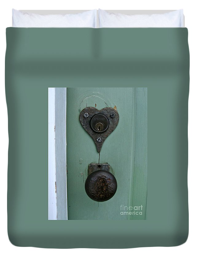 Doorknob Duvet Cover featuring the photograph Green Door by Nancy Patterson