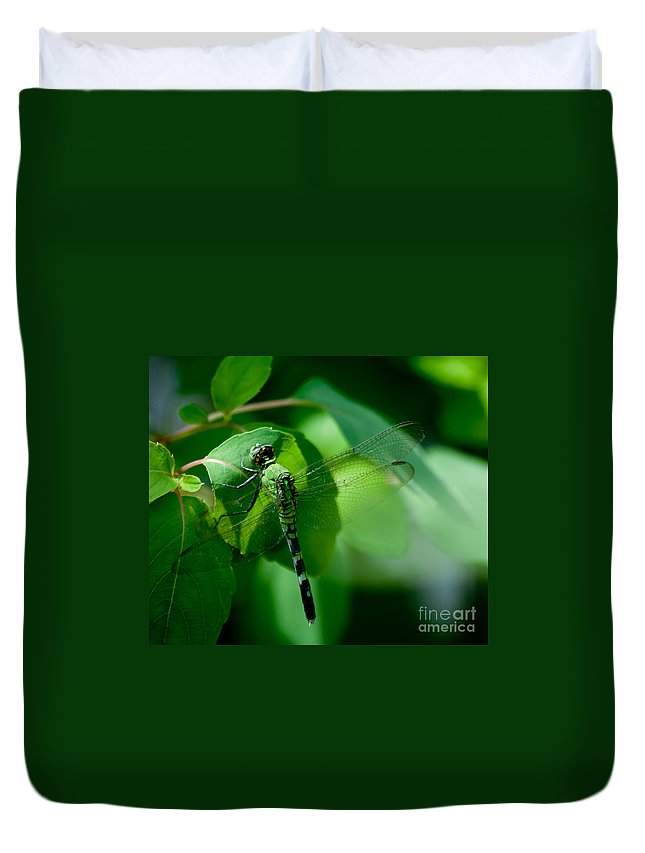 Green Duvet Cover featuring the photograph Green Dragonfly by Photos By Cassandra