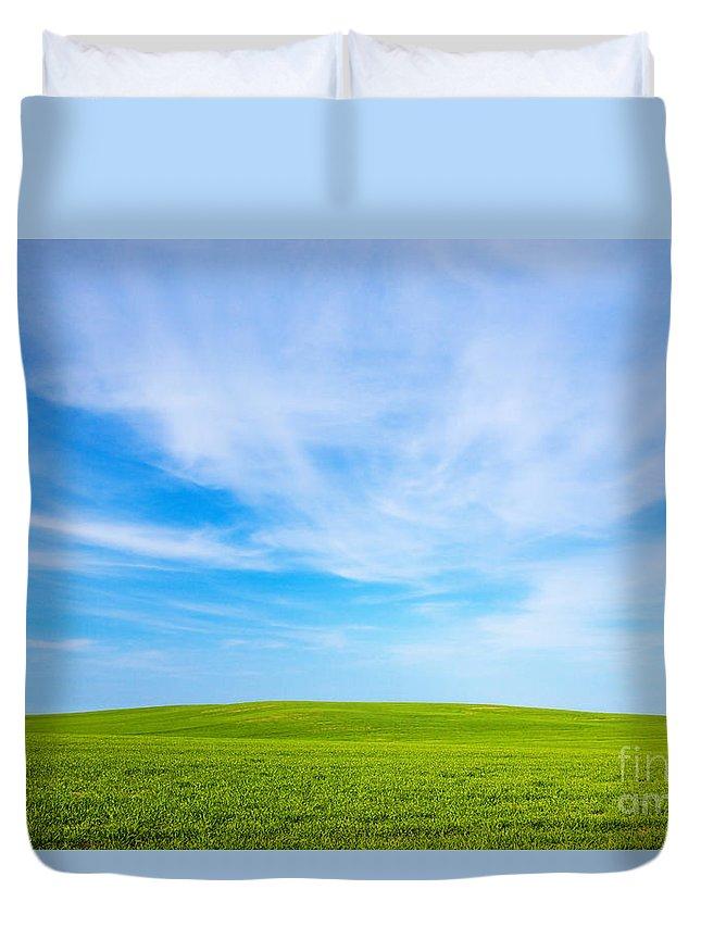 Grass Duvet Cover featuring the photograph Green Field Landscape by Michal Bednarek
