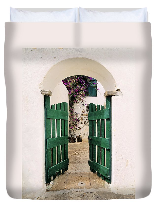 Gate Duvet Cover featuring the photograph Green Gate by Karol Kozlowski