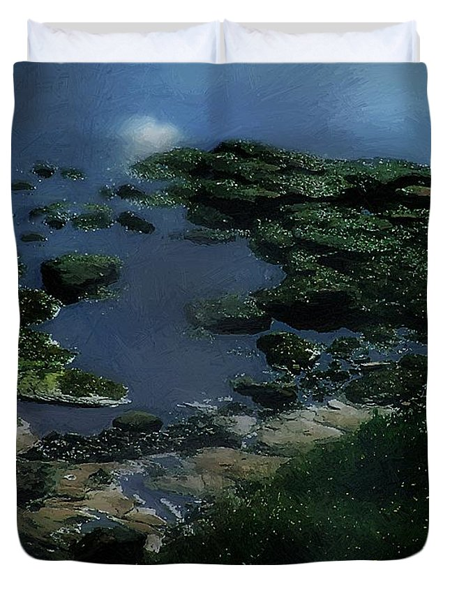 Rocks Duvet Cover featuring the painting Green Green Rocky Road by RC DeWinter