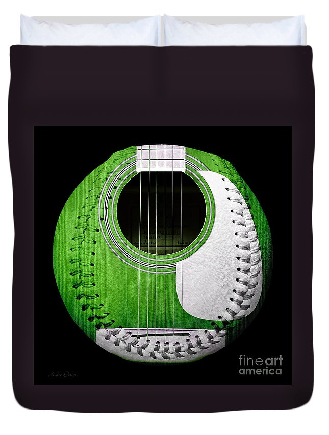 Baseball Duvet Cover featuring the digital art Green Guitar Baseball White Laces Square by Andee Design