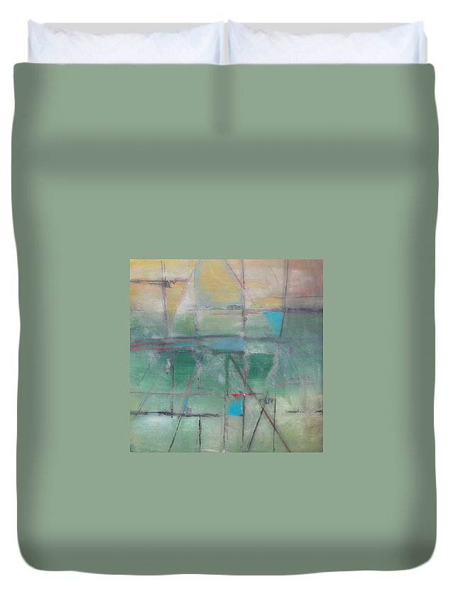 Abstract Duvet Cover featuring the painting Green Hatches by Rhodes Rumsey