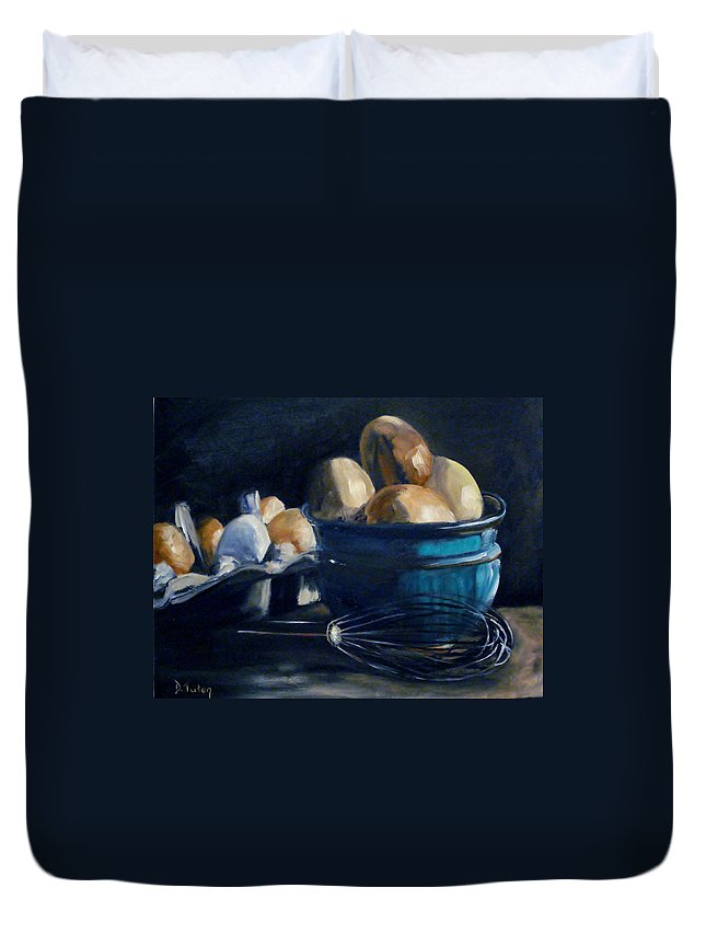 Egg Duvet Cover featuring the painting Green Hill Farms Fresh Eggs by Donna Tuten