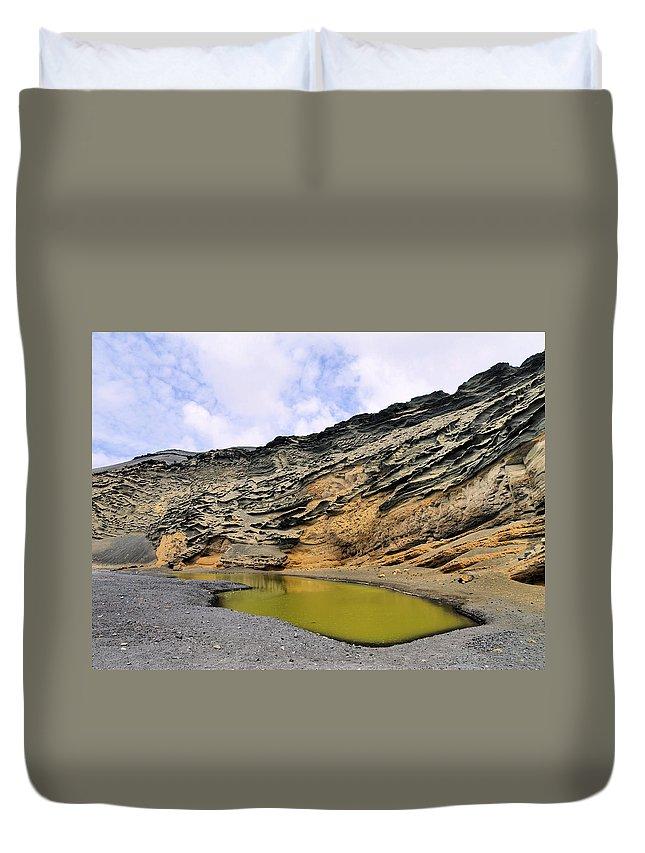 El Golfo Duvet Cover featuring the photograph Green Lagoon On Lanzarote by Karol Kozlowski