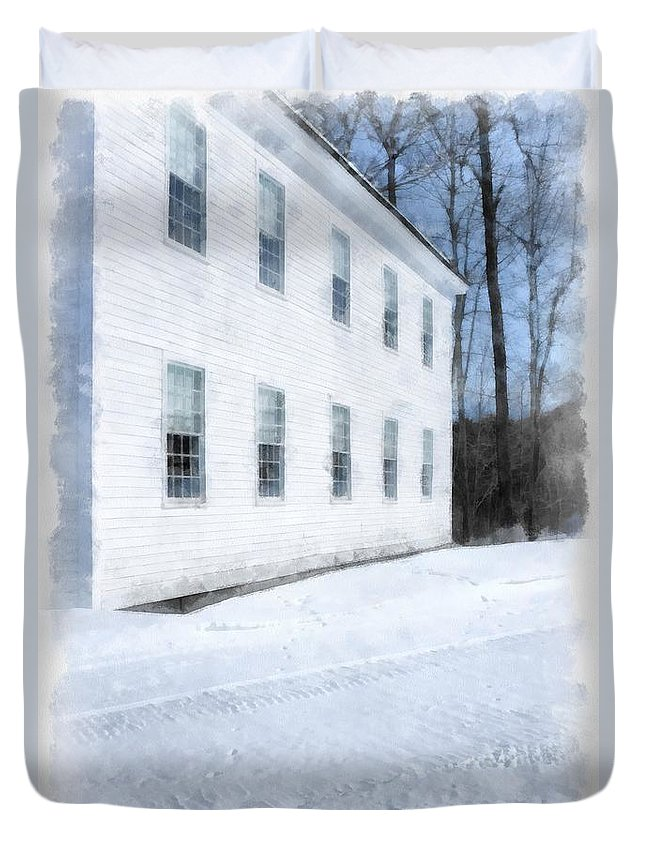 Woodstock Duvet Cover featuring the photograph Green Mountain Perkins Academy by Edward Fielding