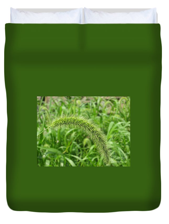 Green Duvet Cover featuring the photograph Green On Green by Ray Konopaske