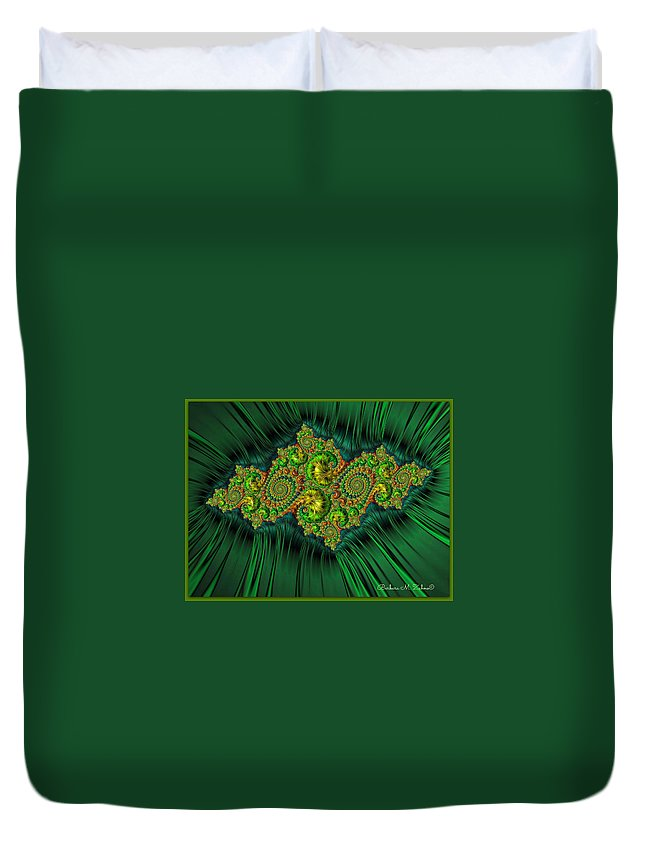 Abstract Duvet Cover featuring the photograph Green Ornament by Barbara Zahno