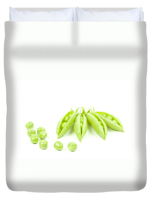 Green Peas Duvet Cover featuring the photograph Green Peas by Alexey Stiop