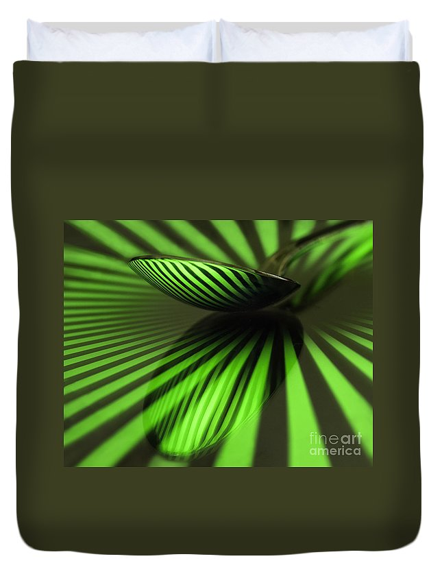 Patterns Duvet Cover featuring the photograph Green Stripes by Claudia Kuhn