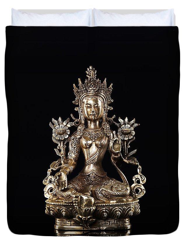 Tara Duvet Cover featuring the photograph Green Tara Buddhist Goddess Statue by Oleksiy Maksymenko