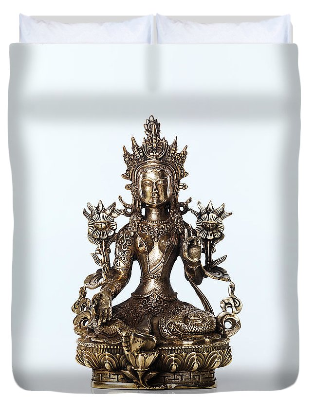 Tara Duvet Cover featuring the photograph Green Tara Goddess Statue by Oleksiy Maksymenko