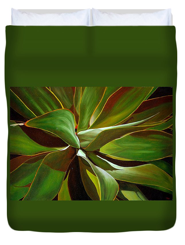 Plant Duvet Cover featuring the painting Green by Thu Nguyen