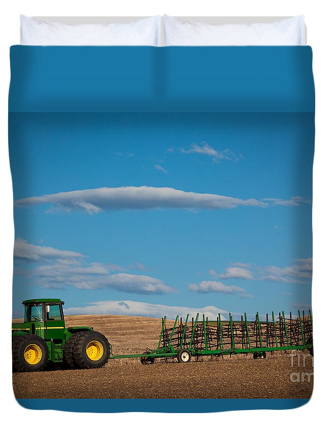 America Duvet Cover featuring the photograph Green Tractor by Inge Johnsson