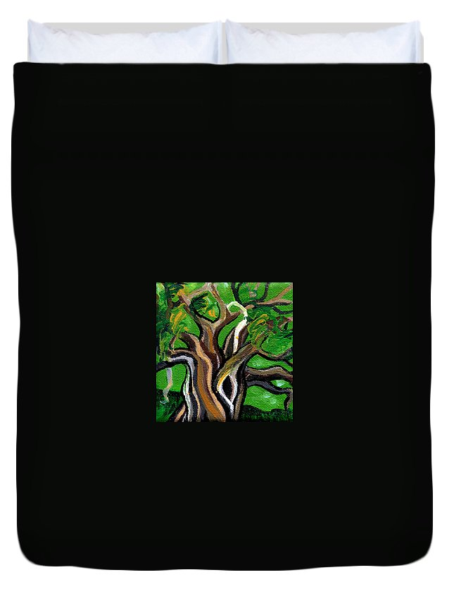 Tree Duvet Cover featuring the painting Green Tree by Genevieve Esson