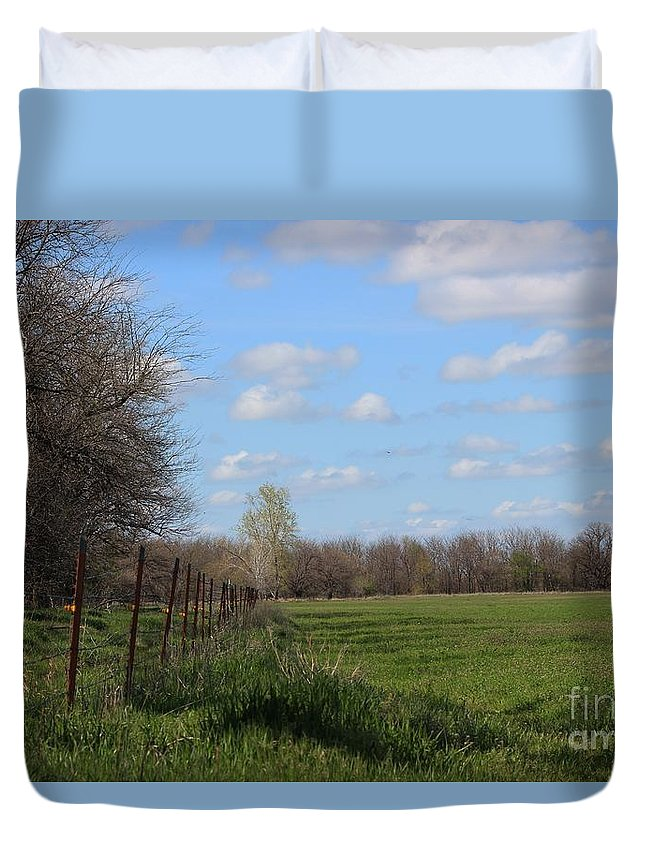 Wheat Duvet Cover featuring the photograph Green Wheat Field With Blue Sky by Robert D Brozek