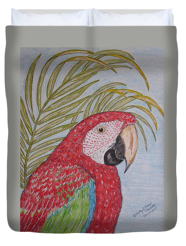 Green Wing Macaw Duvet Cover featuring the painting Green Winged Macaw by Kathy Marrs Chandler