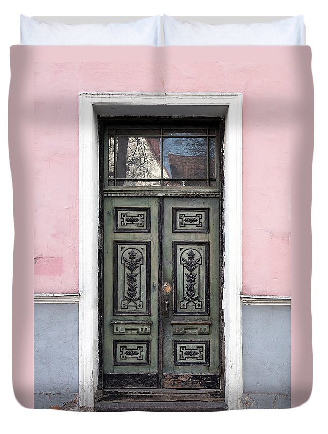 Rectangle Duvet Cover featuring the photograph Green Wooden Door In Old Building by Eugenesergeev