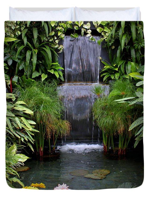Waterfall Duvet Cover featuring the photograph Greenhouse Garden Waterfall by Carol Groenen