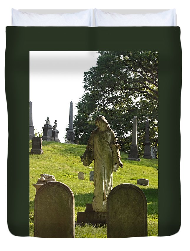 Statue Duvet Cover featuring the photograph Greenwood Cemetery by Philip Ralley