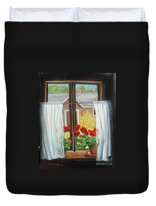 Windows Duvet Cover featuring the painting Greet The Day by Laurie Morgan