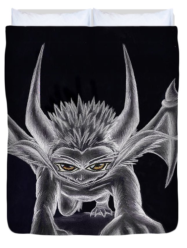 Demon Duvet Cover featuring the painting Grevil Silvered by Shawn Dall