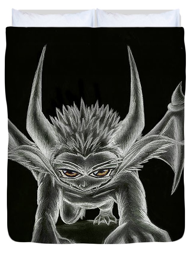 Demon Duvet Cover featuring the painting Grevil Statue by Shawn Dall