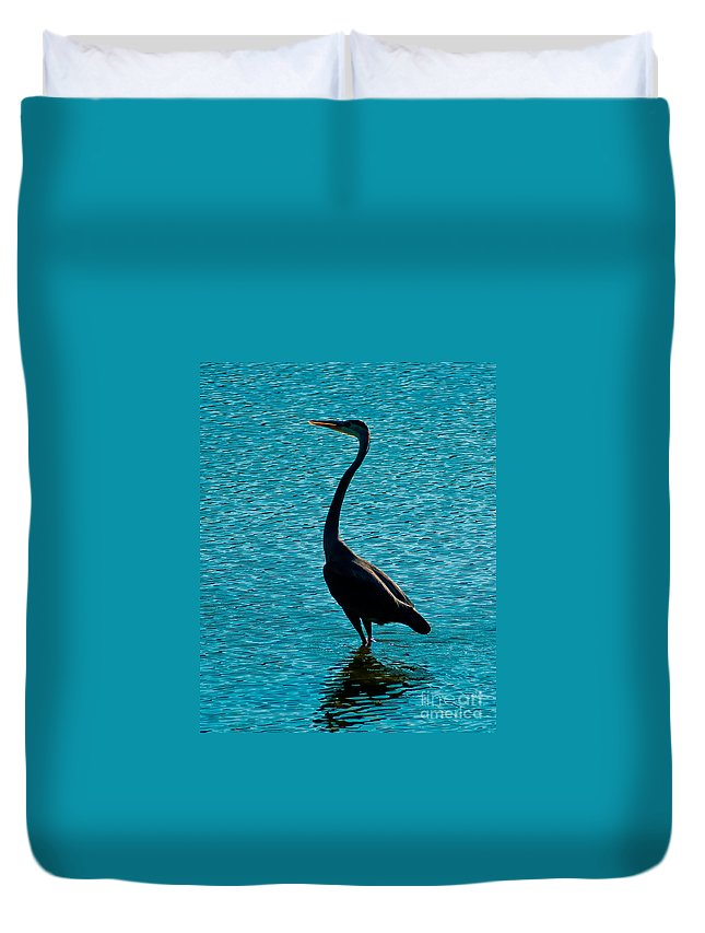 Great Heron Duvet Cover featuring the photograph Grey And Blue by Stephen Whalen