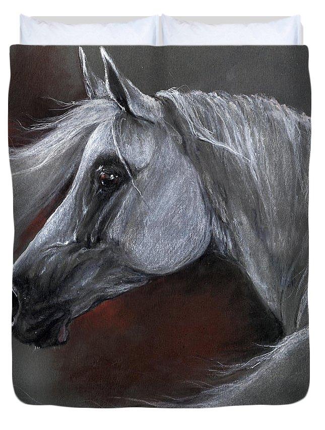 Duvet Cover featuring the pastel Grey Arabian Horse Soft Pastel Drawing 13 04 2013 by Angel Ciesniarska