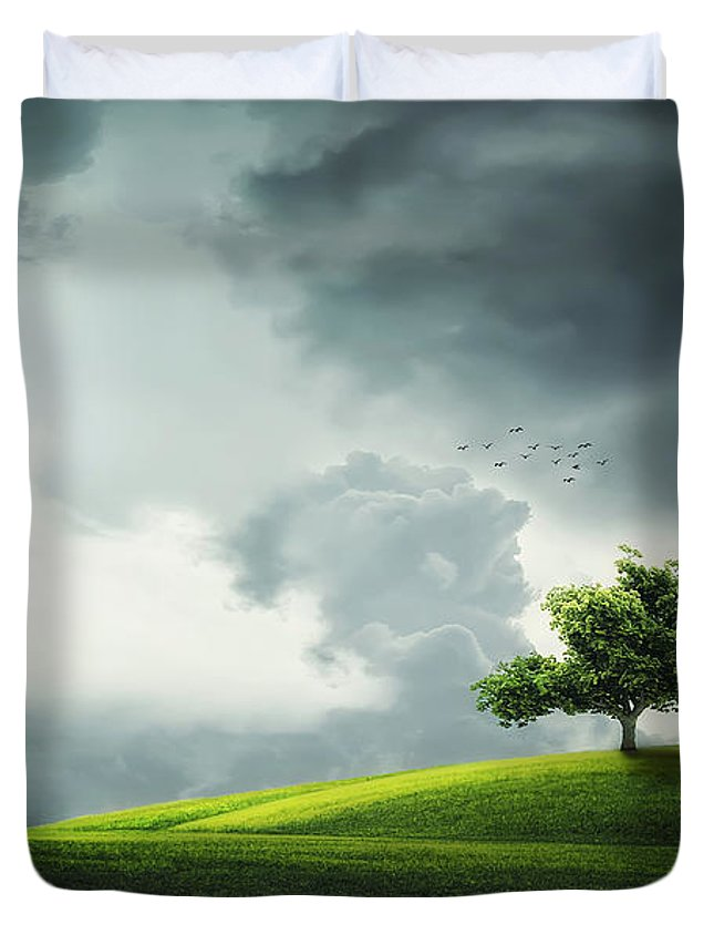 Amazing Duvet Cover featuring the photograph Grey Clouds Over Field With Tree by Bess Hamiti