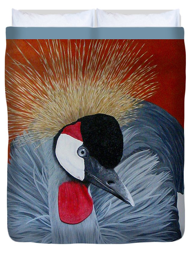 Cranes Duvet Cover featuring the painting Grey Crowned Crane by Elaine Booth-Kallweit