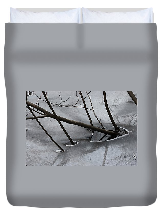 Abstract Duvet Cover featuring the photograph Grey Days Of November by Susan Capuano