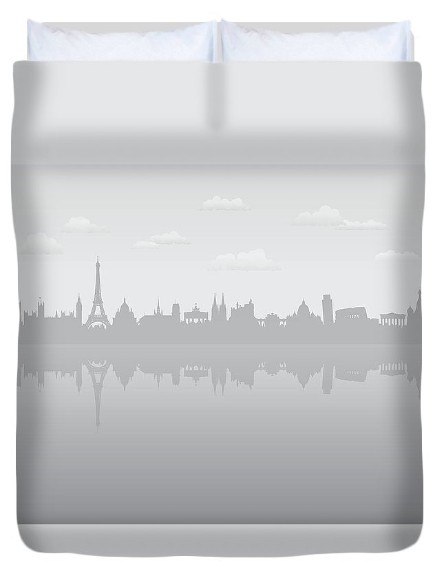 Clock Tower Duvet Cover featuring the digital art Grey Europe by Leontura