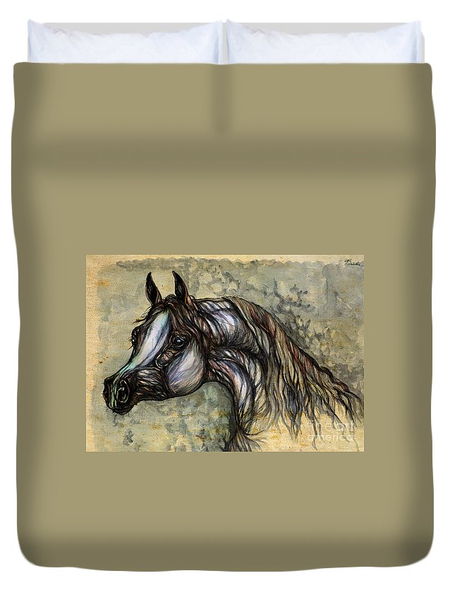 Horse Duvet Cover featuring the painting Grey In The Sepia by Angel Ciesniarska