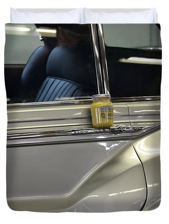 Rolls Royce Duvet Cover featuring the photograph Grey Poupon And Rolls Royce by Kathy Barney