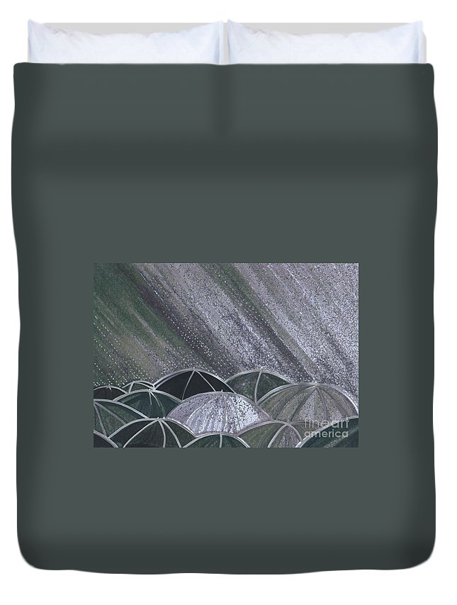 First Star Art Duvet Cover featuring the painting Grey Rain 2 By Jrr by First Star Art