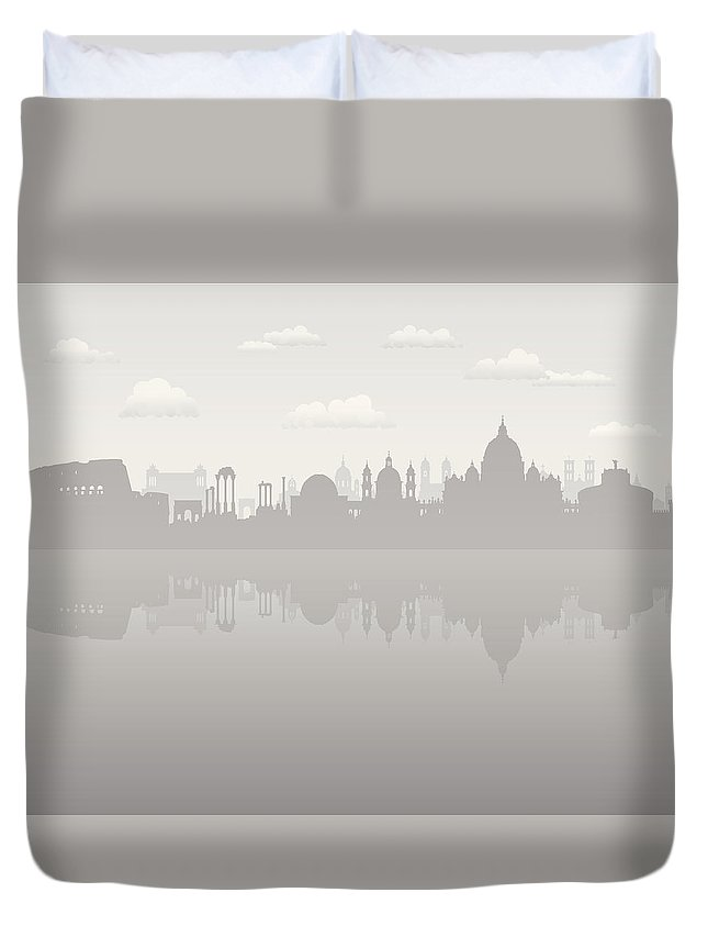 Arch Duvet Cover featuring the digital art Grey Rome by Leontura