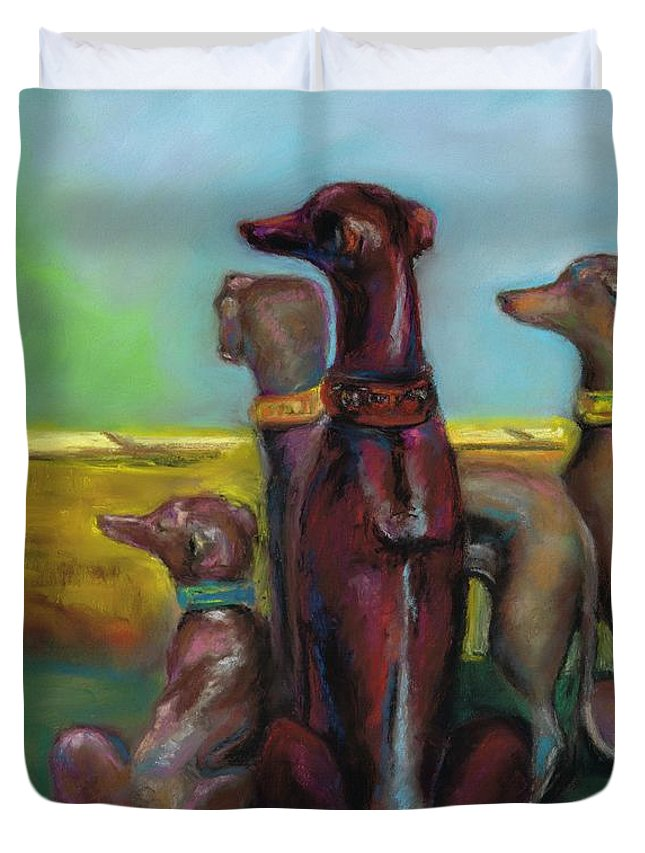 Greyhound Duvet Cover featuring the painting Greyhound Figurines by Frances Marino